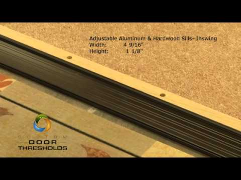 "Adjustable 4-9/16"" Wide Aluminum and Hardwood Inswing Door Threshold - #99087"