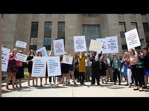 Protestors oppose jail screening that forces female attorneys to remove bras