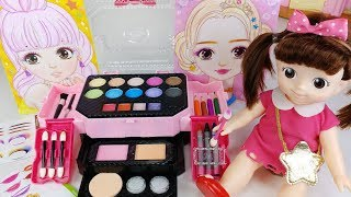 Baby doll make up and beauty box toys color sketch play 아기인형 미미 메이크업 박스 화장놀이 미용 장난감놀이 - 토이몽
