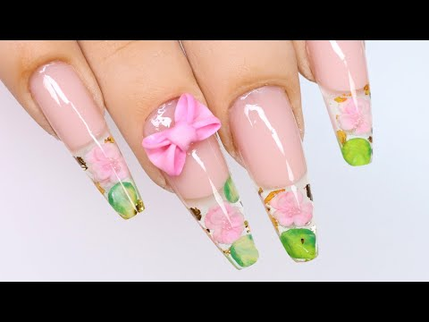 Clear Encapsulated Spring Flower Nails!