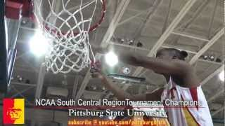 'NCAA South Central Region Tournament Champions - Pitt State cutting down the net