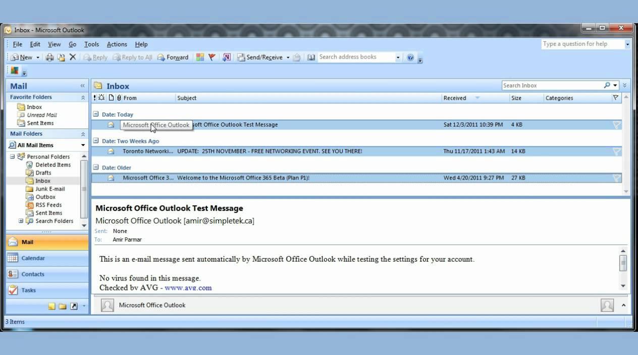 Microsoft Office Outlook 2007 pt1 - YouTube