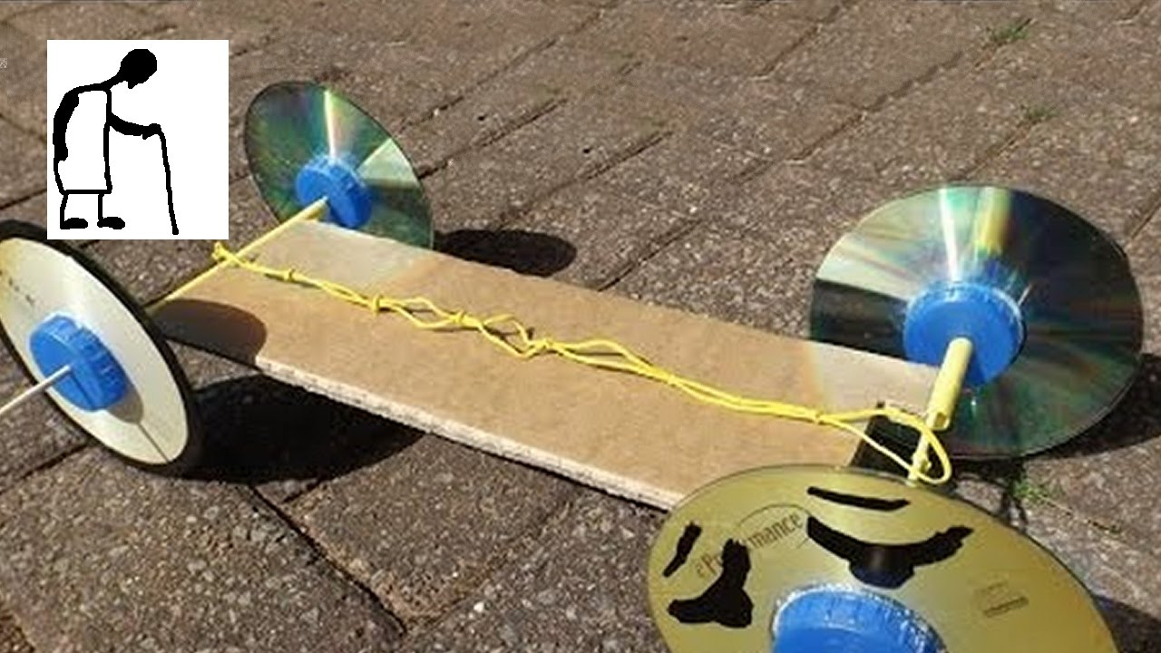 Rubber Band Powered Car Without Hot Glue Youtube