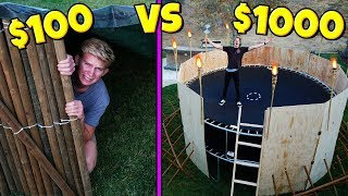 $100 VS $1,000 TRAMPOLINE TOWER APOCALYPSE SURVIVAL FORT!