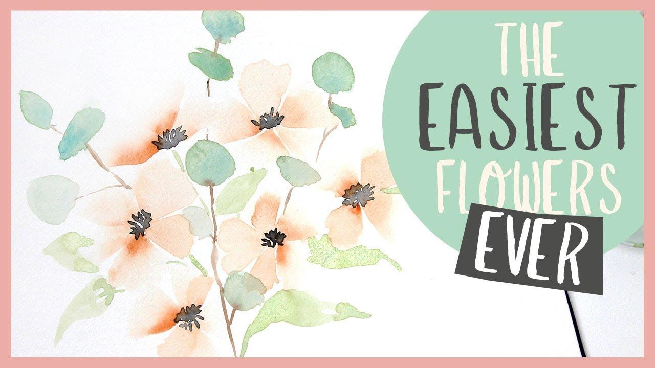 The EASIEST Flowers EVER! - Beginner Watercolour Tutorial