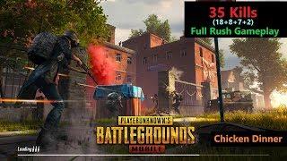 """[Hindi] PUBG Mobile   """"35 Kills"""" Full Rush Gameplay With Chicken Dinner"""