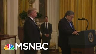 Watch Trump AG Barr Squirm Under Oath When Pressed On Guilty Trump Aide | MSNBC