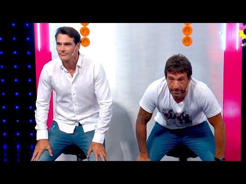 Hernán Drago y Gustavo Conti compitieron en el juego de las sentadillas y hubo un firme ganador