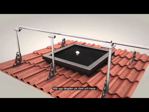 Skyddsräcke på tak och infästning med fotplatta