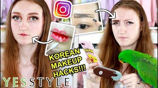TESTING VIRAL KOREAN MAKEUP HACKS! YESSTYLE VALENTINES DAY BEAUTY BOX 2019