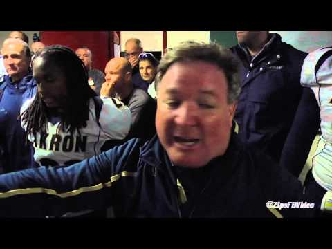 Coach Terry Bowden addresses the team after first conference win