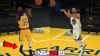 LeBron James vs Stephen Curry in a Long Distance Shot Contest! NBA 2K19
