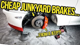 I Installed HUGE Junkyard Brakes On My Cheap Toyota Supra (From A JEEP?!)