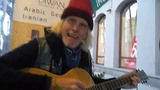Most awesome street musician Mike,60,from California. Country music performance in Georgia, Tbilisi.