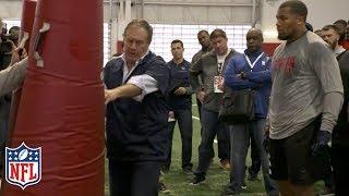 Bill Belichick Coaches Bradley Chubb at NC State Pro Day | NFL Highlights