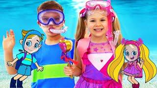 Diana and Roma Funny Swim Story Cartoon for Kids