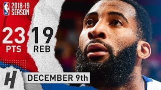 Andre Drummond Full Highlights Pistons vs Pelicans 2018.12.09 - 23 Pts, 19 Rebounds!
