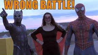 SUPERHERO...BLACK PANTHER, SPIDERMAN, AND SUPER GIRL BATTLE IT OUT..NO ENDGAME HERE!!