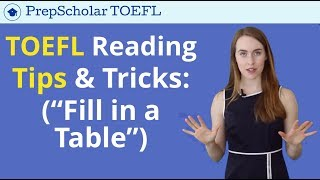 TOEFL Reading Tips and Strategy | Fill in a Table Questions