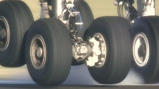 A380 weight on wheels: ultra close touchdown in slo-mo
