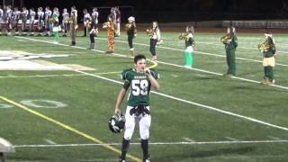 High School Football Player Sam Keith sings Anthem at Game - 10-30-14