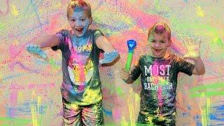 Kids Chalk Paint the House!