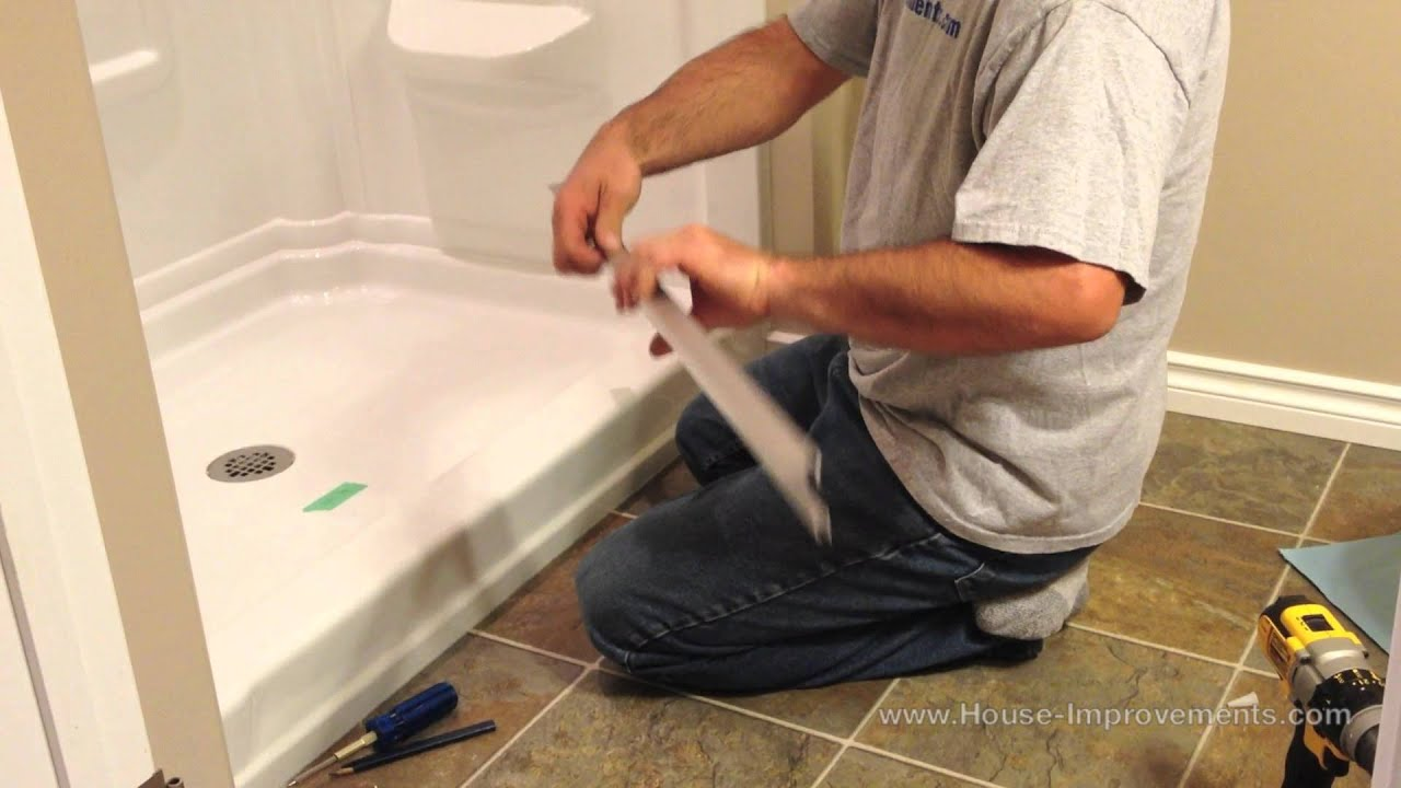 Corner Bath Shower Curtain Rail How To Install Glass Sliding Shower Doors Youtube