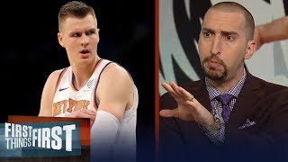 Nick Wright reacts to Knicks trading Kristaps Porzingis, talks KD & Kyrie | NBA | FIRST THINGS FIRST