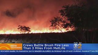 Crews Battle Brush Fire Near MetLife Stadium