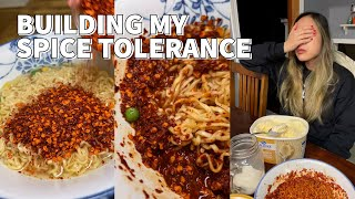 I tried to build my spice tolerance to take on a Spicy Noodle Challenge