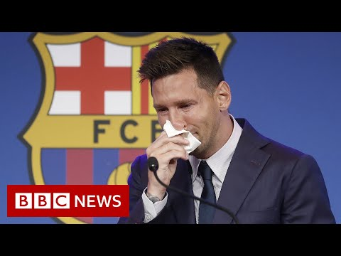 Lionel Messi's tearful farewell to Barcelona - BBC News