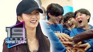 Kim So Hyun High-fives the Trainees to Energize Them [UNDER NINETEEN Ep 4]