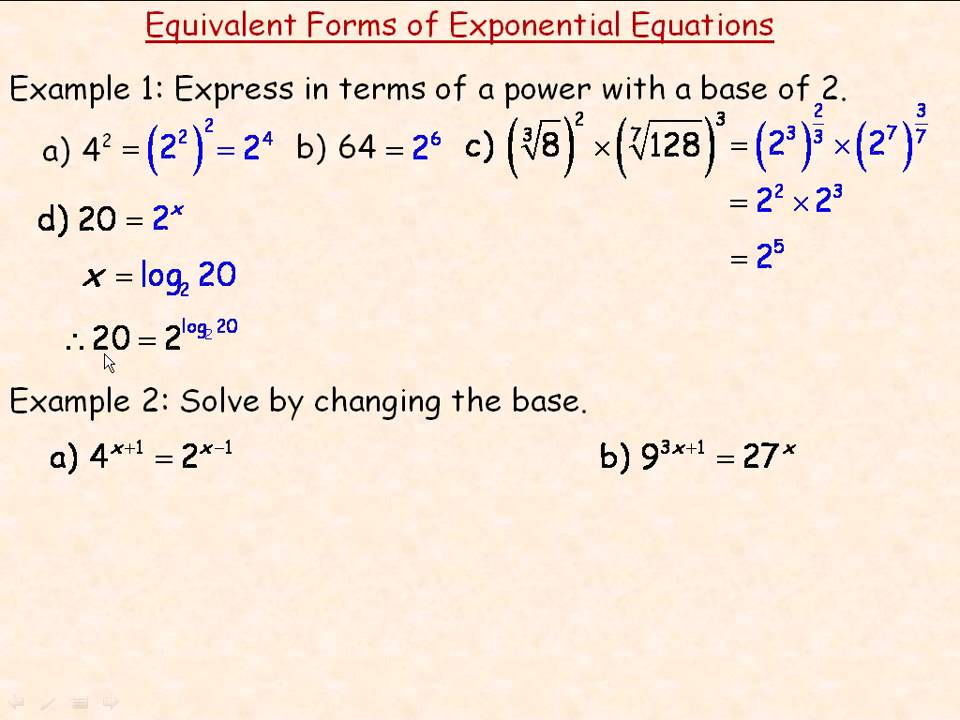 equivalent forms of exponential equations  youtube