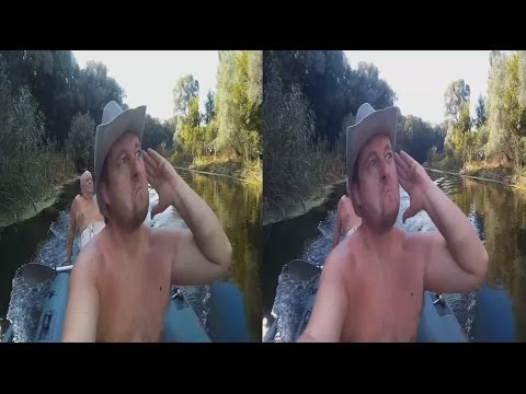 On A Motor Boat 3D !The journey there and back ! 3D VIDEO