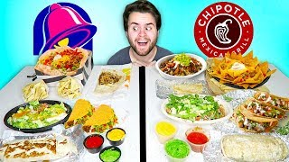 TACO BELL vs. CHIPOTLE! - The Whole Menu! Fast Food Taste Test