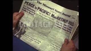 STOCK FOOTAGE - Newspaper Headline, End of World War II, 1945 #FF634HD-5617