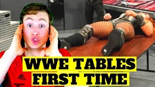 MMA FAN REACTS TO INSANE TABLE MOMENTS IN WWE (ouch...)