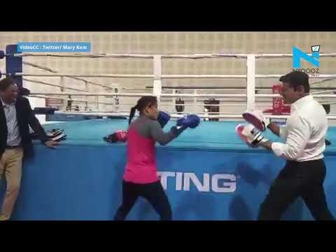 Watch Mary Kom vs. Rajyavardhan Rathore in a friendly boxing bout