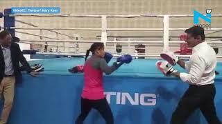 Watch Mary Kom vs. Rajyavardhan Rathore in a friendly boxi..