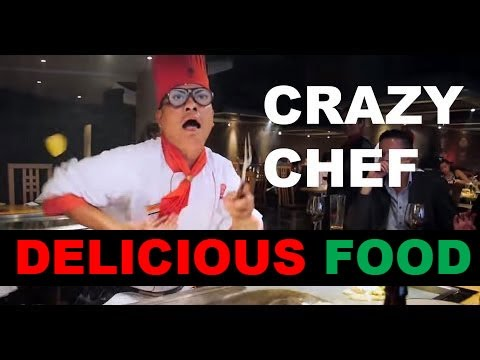 Crazy chef at Benihana in London, UK
