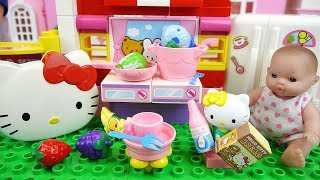 Hello Kitty block kitchen and Baby Doll house toys play