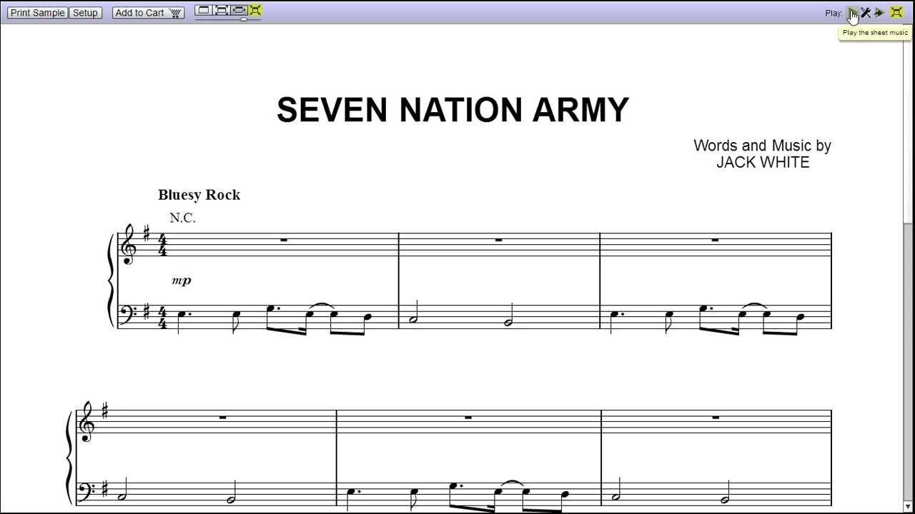 White Stripes Seven Nation Army Tab Piano
