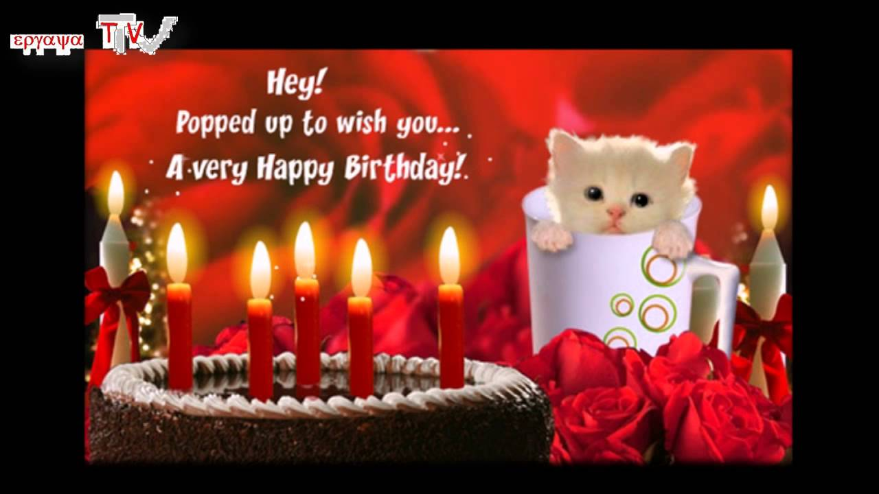 Happy Birthday Greeting Card With Kitten Youtube