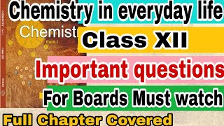 Chemistry in everyday life Important questions with answers || Class 12 || Board Exams ||