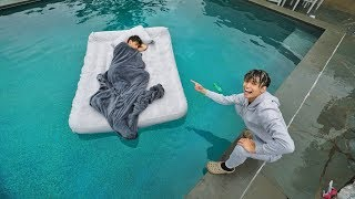 TWIN BROTHER WAKES UP IN SWIMMING POOL PRANK!