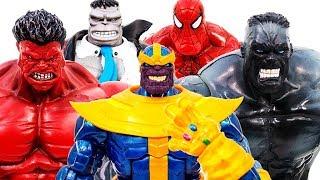 Red Hulk Vs Hulk Versus SpiderHulk~! Thanos Using Infinity Gauntlet ~ Toys Pretend Play - Toy Marvel