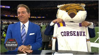 Lee Corso's headgear pick for Clemson vs. LSU with Nick Saban | College GameDay