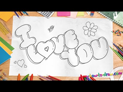 How To Draw I Love You In 3d Bubble Letters Easy Step By
