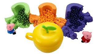 DIY Learn Colors Rainbow Kinetic Sand Cups M&Ms Chocolate Beads Toys VS Apple Magic How To Make