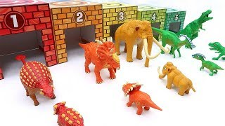 5 Dinosaurs In Color Garage! Jurassic World Dinosaurs For Kids - Fun Learn Dino Video